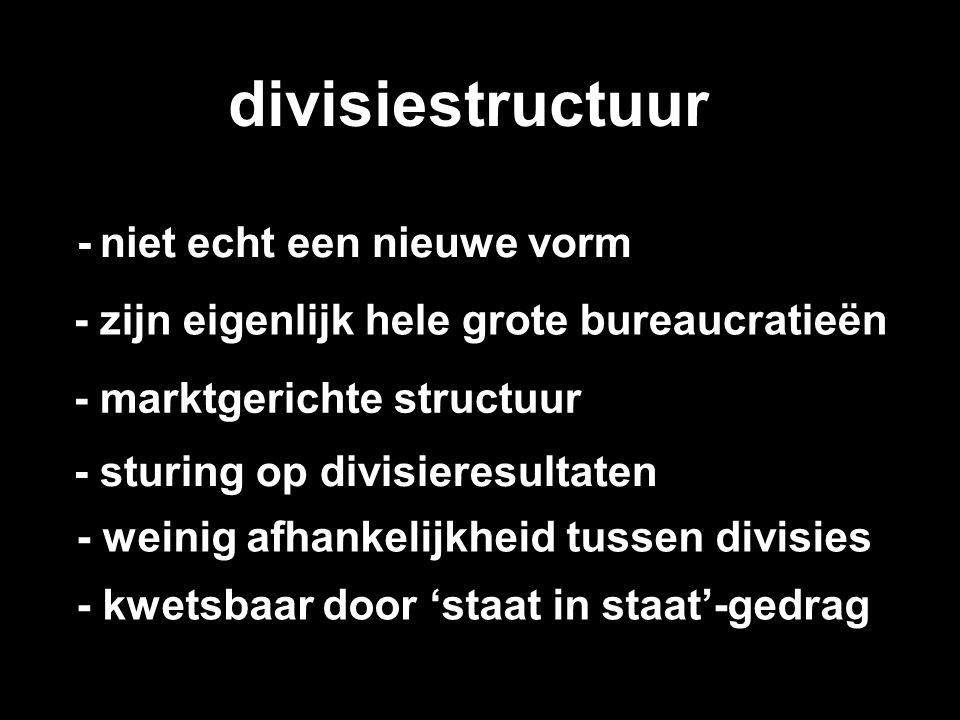 divisiestructuur - niet echt een nieuwe vorm - zijn eigenlijk hele grote bureaucratieën - marktgerichte structuur - sturing op divisieresultaten - wei