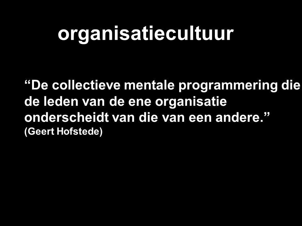 """organisatiecultuur """"De collectieve mentale programmering die de leden van de ene organisatie onderscheidt van die van een andere."""" (Geert Hofstede)"""