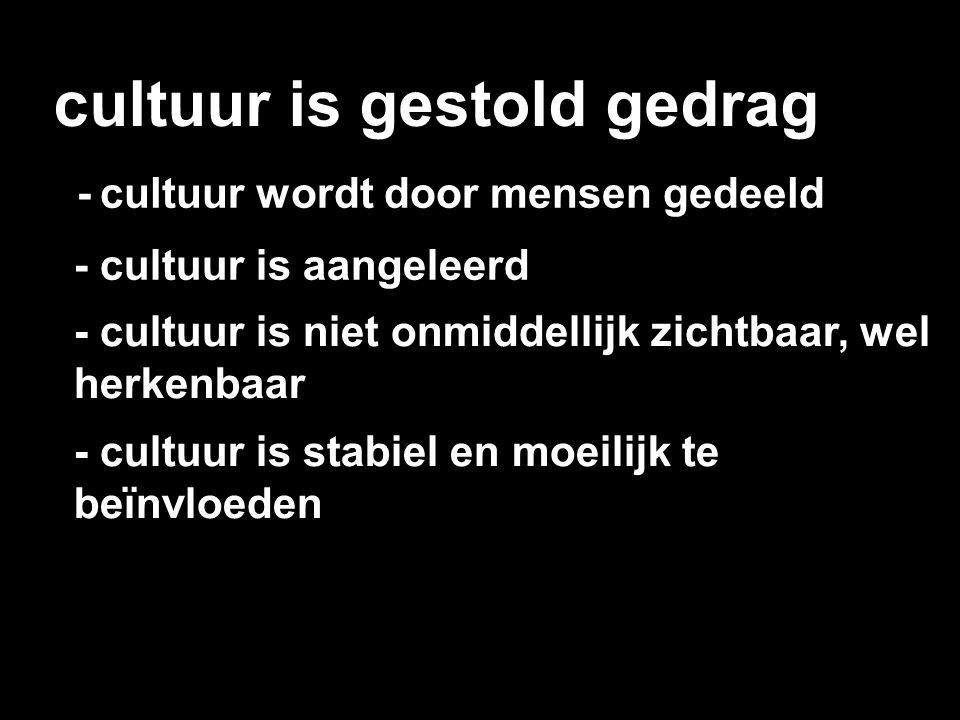 cultuur is gestold gedrag - cultuur wordt door mensen gedeeld - cultuur is aangeleerd - cultuur is niet onmiddellijk zichtbaar, wel herkenbaar - cultu