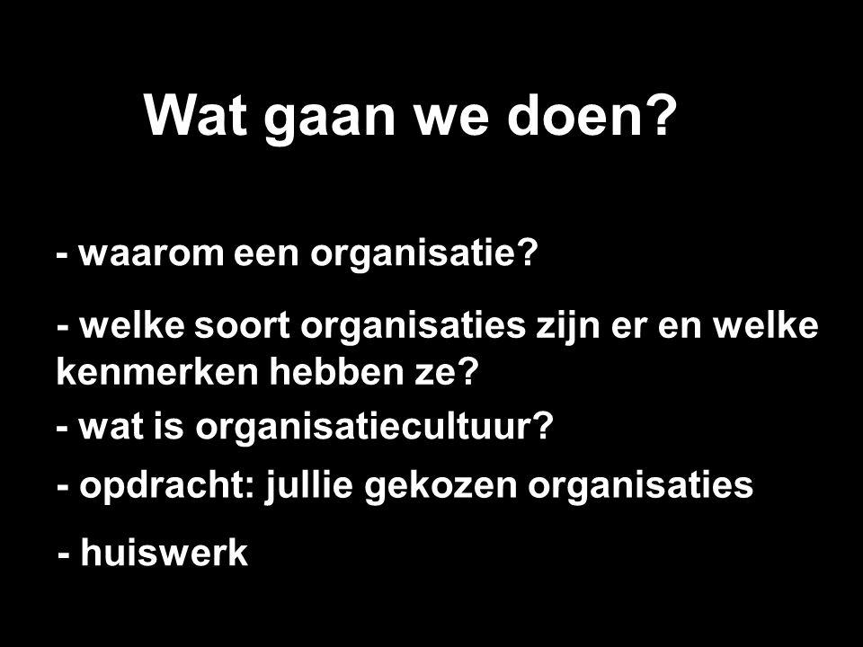 Wat gaan we doen? - wat is organisatiecultuur? - waarom een organisatie? - welke soort organisaties zijn er en welke kenmerken hebben ze? - opdracht: