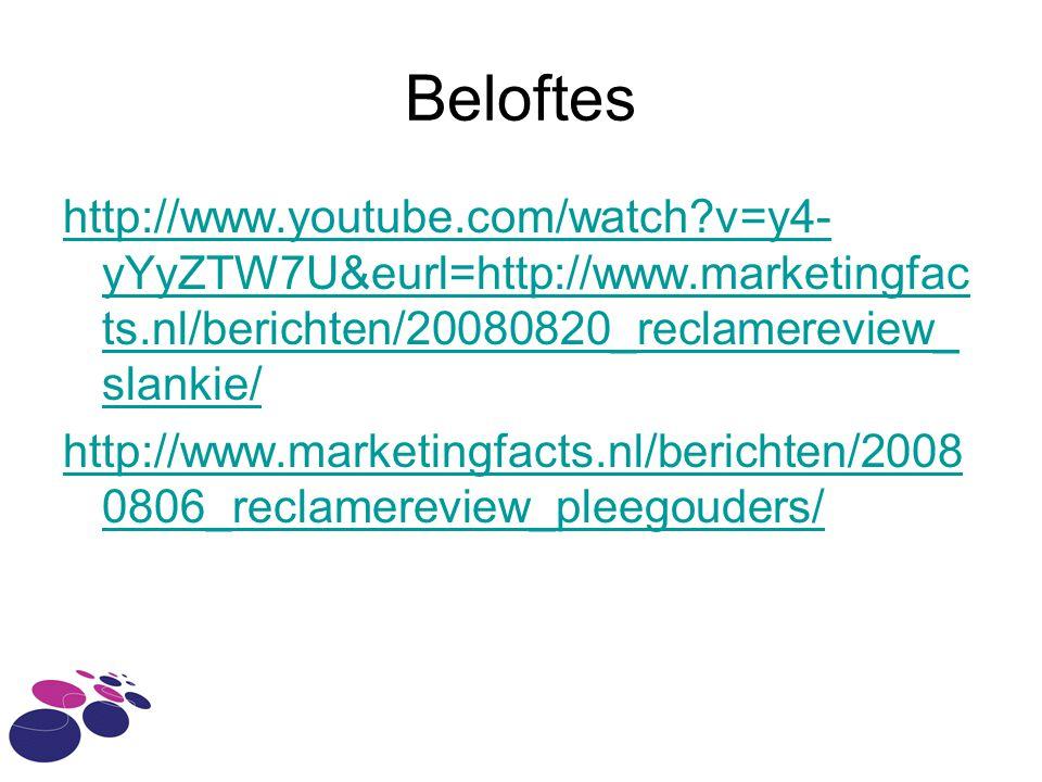 Beloftes http://www.youtube.com/watch?v=y4- yYyZTW7U&eurl=http://www.marketingfac ts.nl/berichten/20080820_reclamereview_ slankie/ http://www.marketin
