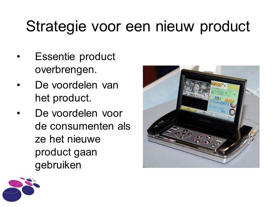 Strategie voor een nieuw product Essentie product overbrengen. De voordelen van het product. De voordelen voor de consumenten als ze het nieuwe produc