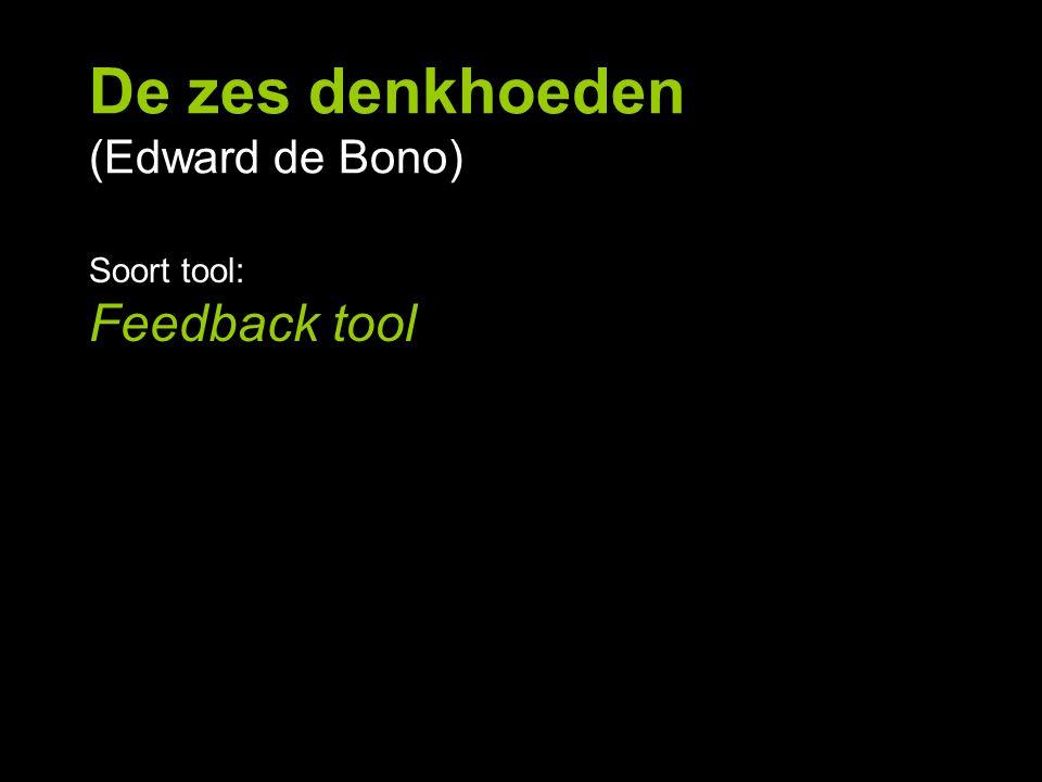 De zes denkhoeden (Edward de Bono) Soort tool: Feedback tool