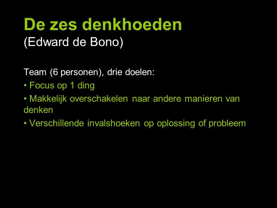 De zes denkhoeden (Edward de Bono) Team (6 personen), drie doelen: Focus op 1 ding Makkelijk overschakelen naar andere manieren van denken Verschillen