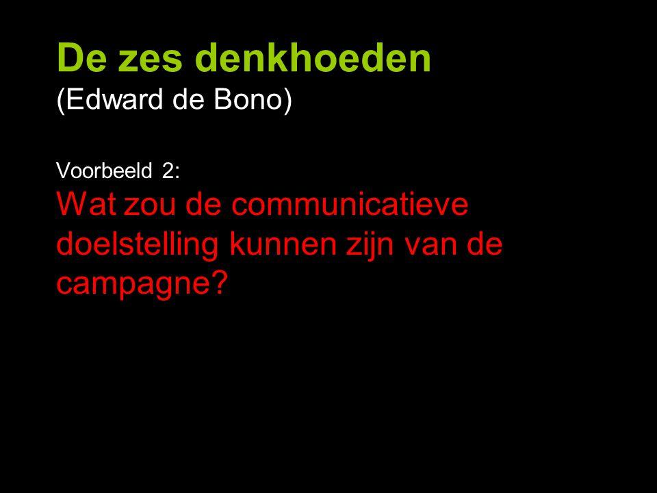 De zes denkhoeden (Edward de Bono) Voorbeeld 2: Wat zou de communicatieve doelstelling kunnen zijn van de campagne?