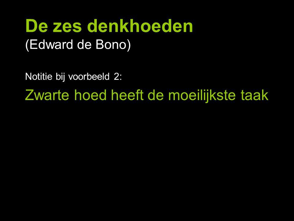 De zes denkhoeden (Edward de Bono) Notitie bij voorbeeld 2: Zwarte hoed heeft de moeilijkste taak