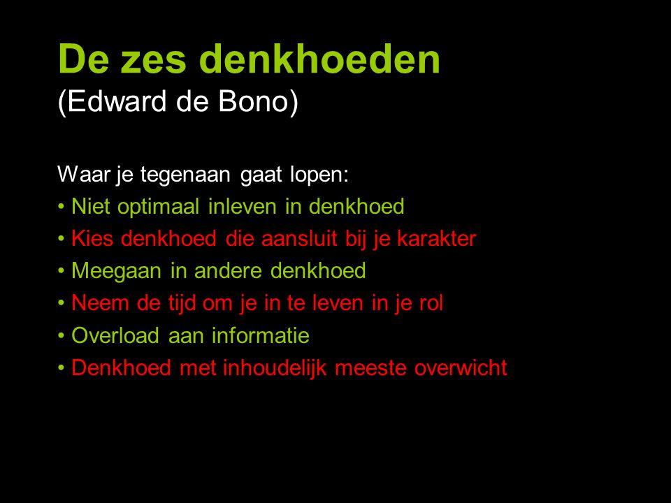De zes denkhoeden (Edward de Bono) Waar je tegenaan gaat lopen: Niet optimaal inleven in denkhoed Kies denkhoed die aansluit bij je karakter Meegaan i