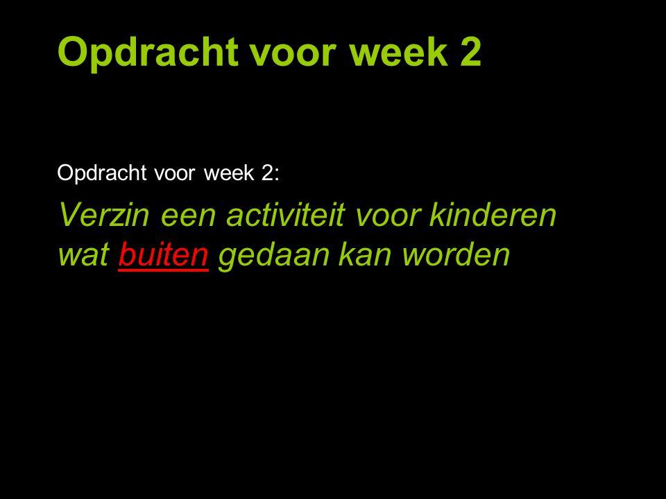 Opdracht voor week 2: Verzin een activiteit voor kinderen wat buiten gedaan kan worden Opdracht voor week 2