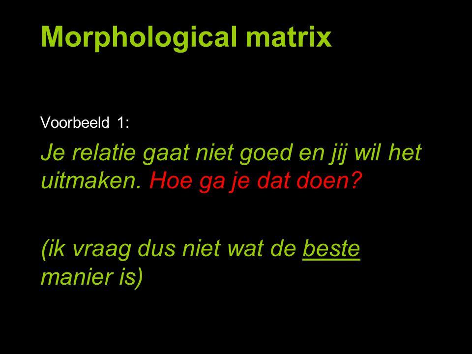 StatischEvolutionairRevolutionair IndividueelKnutselen GezamenlijkVoorwerp raden (criteria) Morphological matrix b.