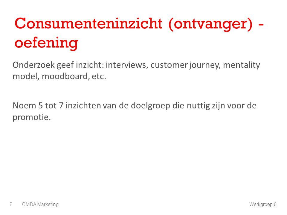 Consumenteninzicht (ontvanger) - oefening Onderzoek geef inzicht: interviews, customer journey, mentality model, moodboard, etc. Noem 5 tot 7 inzichte