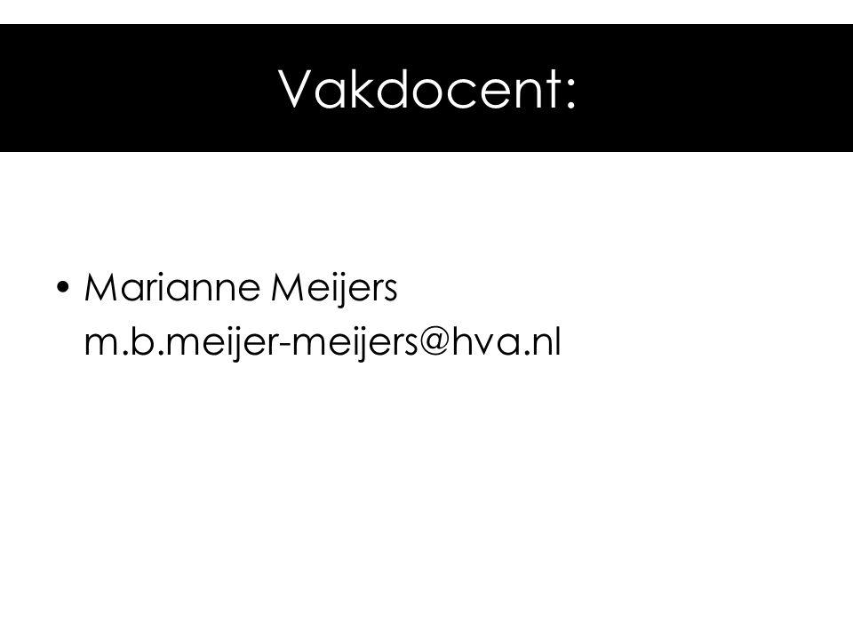 Vakdocent: Marianne Meijers m.b.meijer-meijers@hva.nl