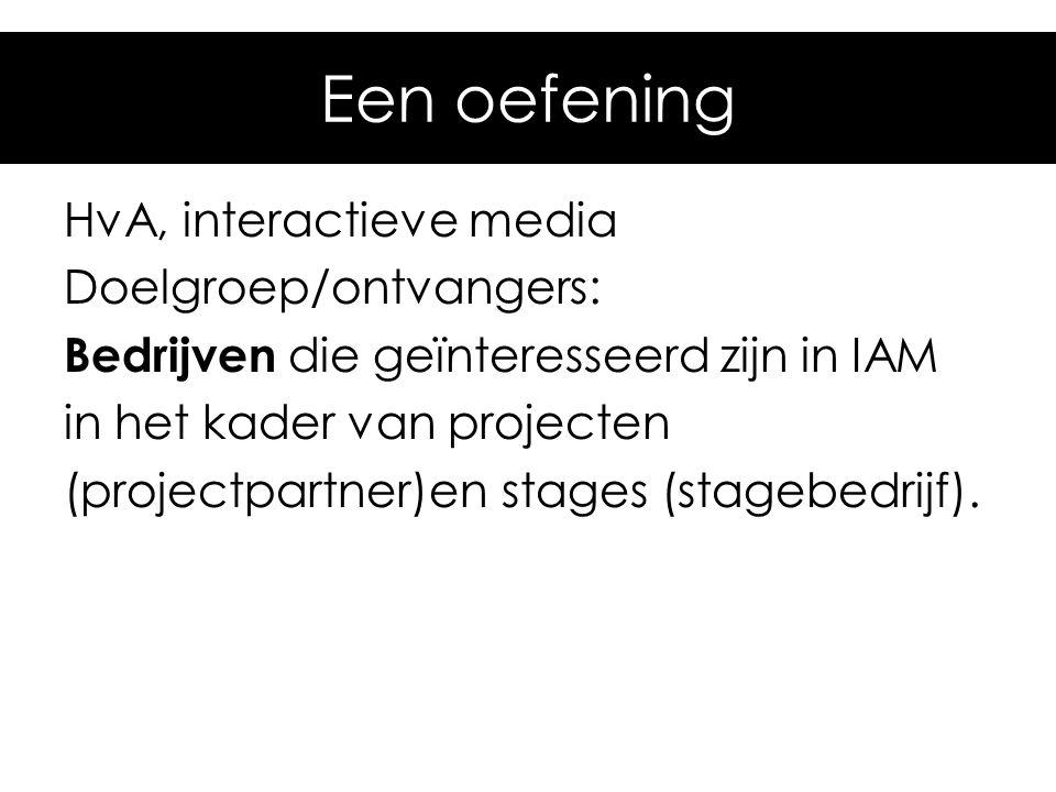 Een oefening HvA, interactieve media Doelgroep/ontvangers: Bedrijven die geïnteresseerd zijn in IAM in het kader van projecten (projectpartner)en stag