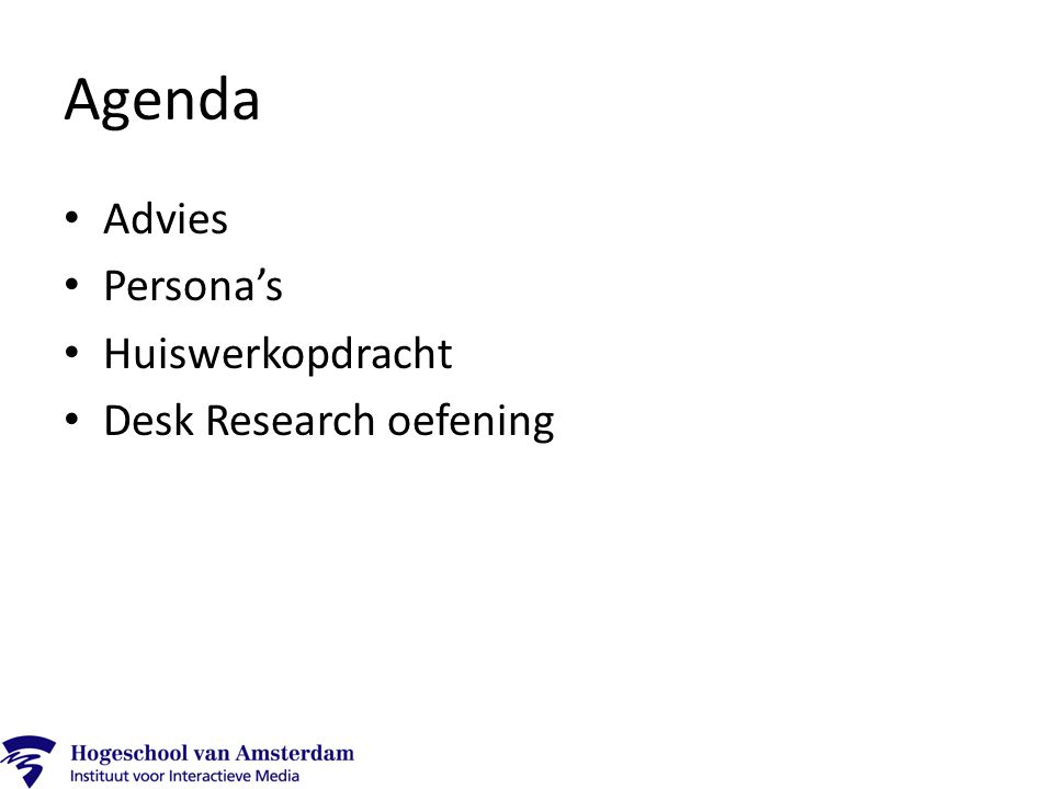 Agenda Advies Persona's Huiswerkopdracht Desk Research oefening