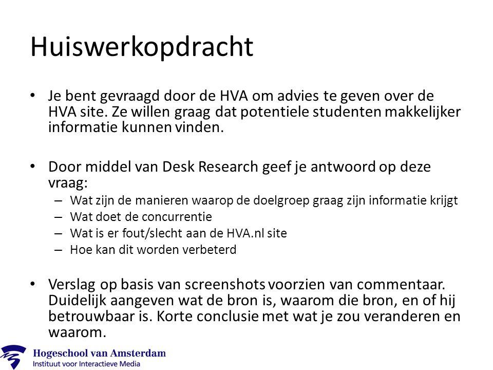 Je bent gevraagd door de HVA om advies te geven over de HVA site.