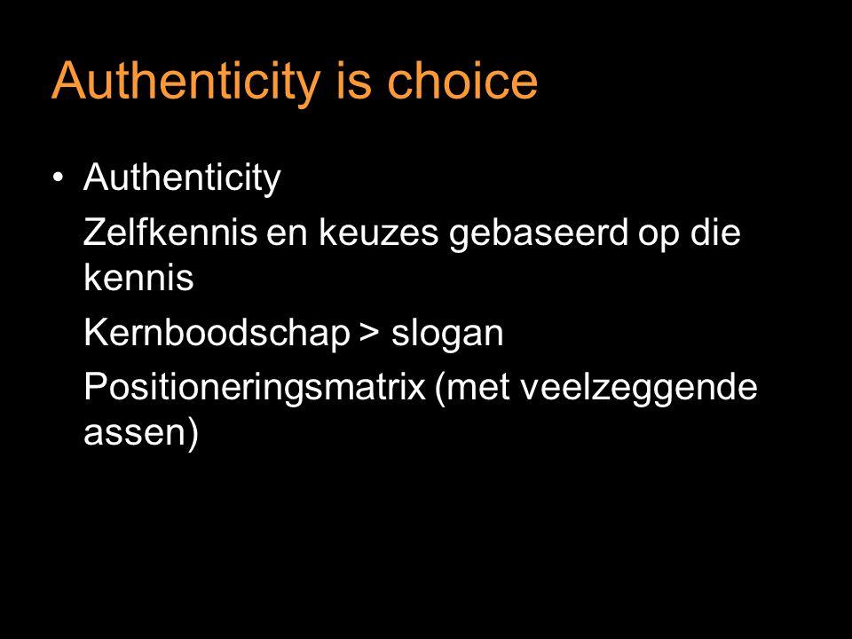 Authenticity is choice Authenticity Zelfkennis en keuzes gebaseerd op die kennis Kernboodschap > slogan Positioneringsmatrix (met veelzeggende assen)