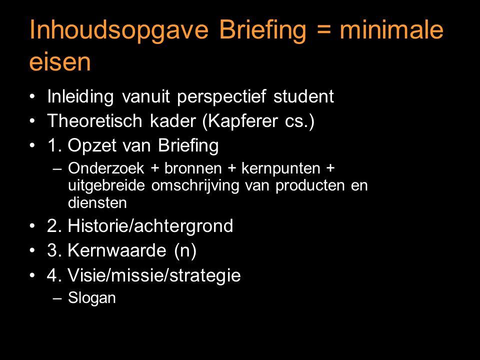 Inhoudsopgave Briefing = minimale eisen Inleiding vanuit perspectief student Theoretisch kader (Kapferer cs.) 1.