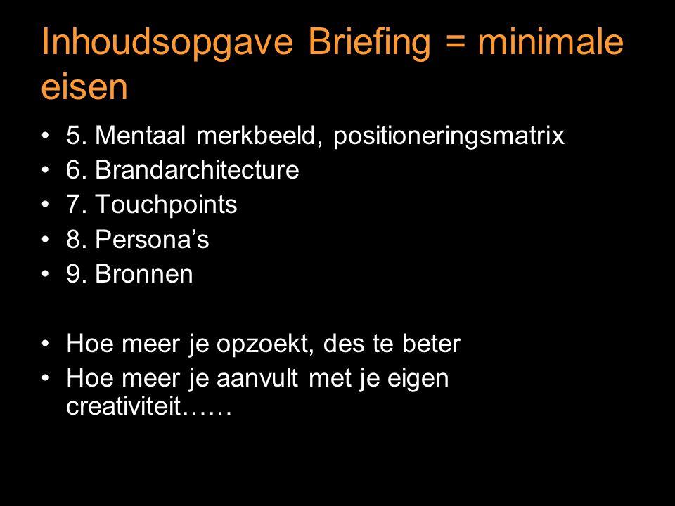 Inhoudsopgave Briefing = minimale eisen 5. Mentaal merkbeeld, positioneringsmatrix 6.