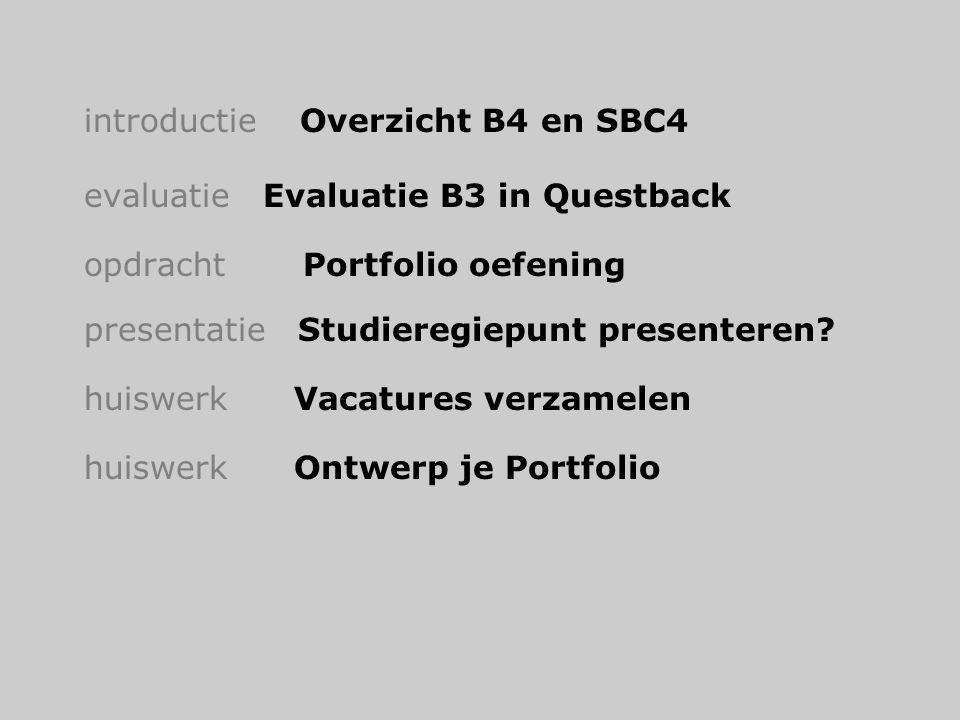 introductie Overzicht B4 en SBC4 evaluatie Evaluatie B3 in Questback opdracht Portfolio oefening presentatie Studieregiepunt presenteren? huiswerk Vac
