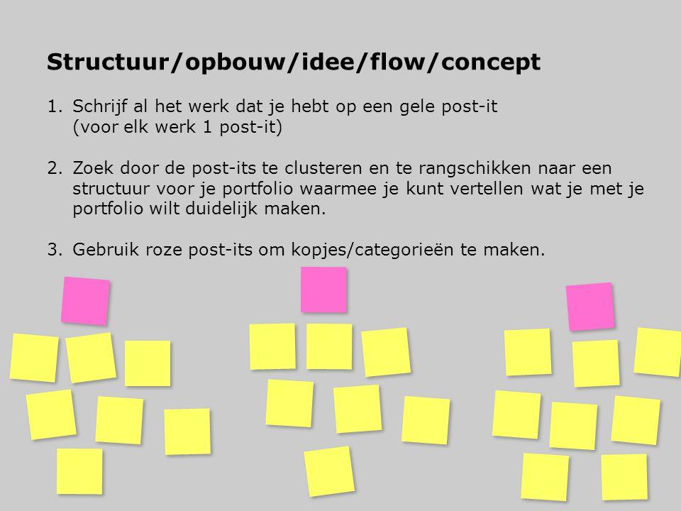 Structuur/opbouw/idee/flow/concept 1.Schrijf al het werk dat je hebt op een gele post-it (voor elk werk 1 post-it) 2.Zoek door de post-its te clustere