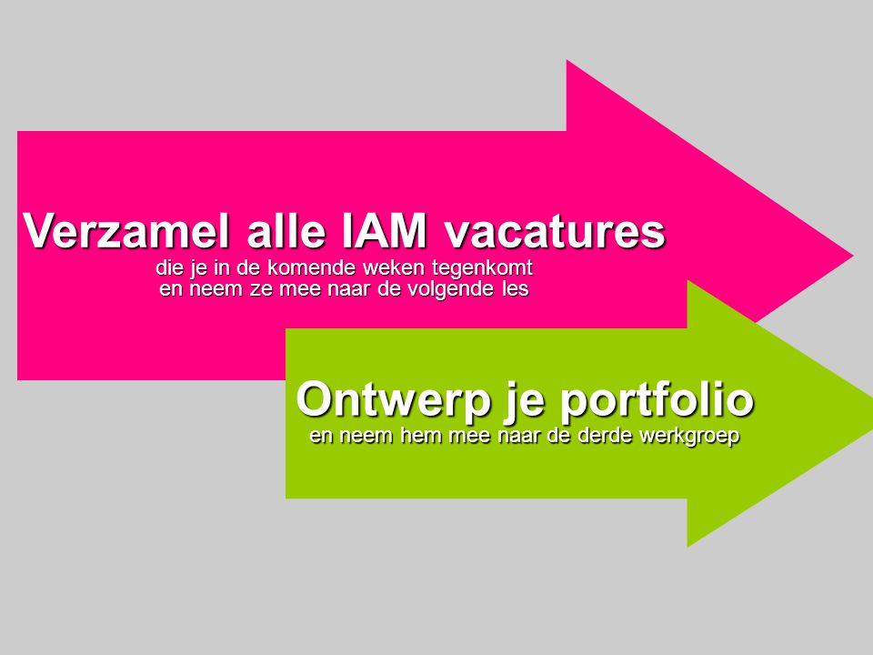 Verzamel alle IAM vacatures die je in de komende weken tegenkomt en neem ze mee naar de volgende les Ontwerp je portfolio en neem hem mee naar de derd