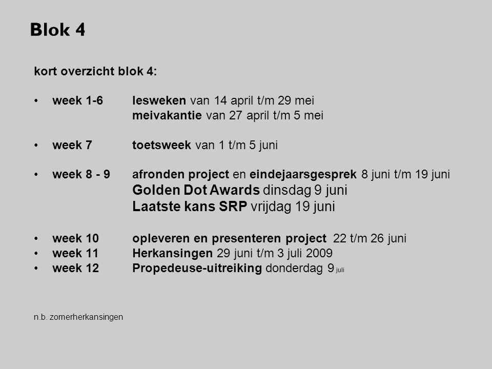 Blok 4 kort overzicht blok 4: week 1-6 lesweken van 14 april t/m 29 mei meivakantie van 27 april t/m 5 mei week 7 toetsweek van 1 t/m 5 juni week 8 -