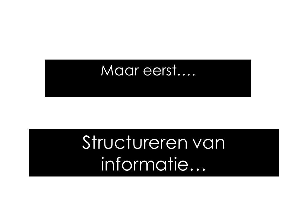 Structureren van informatie… Maar eerst….