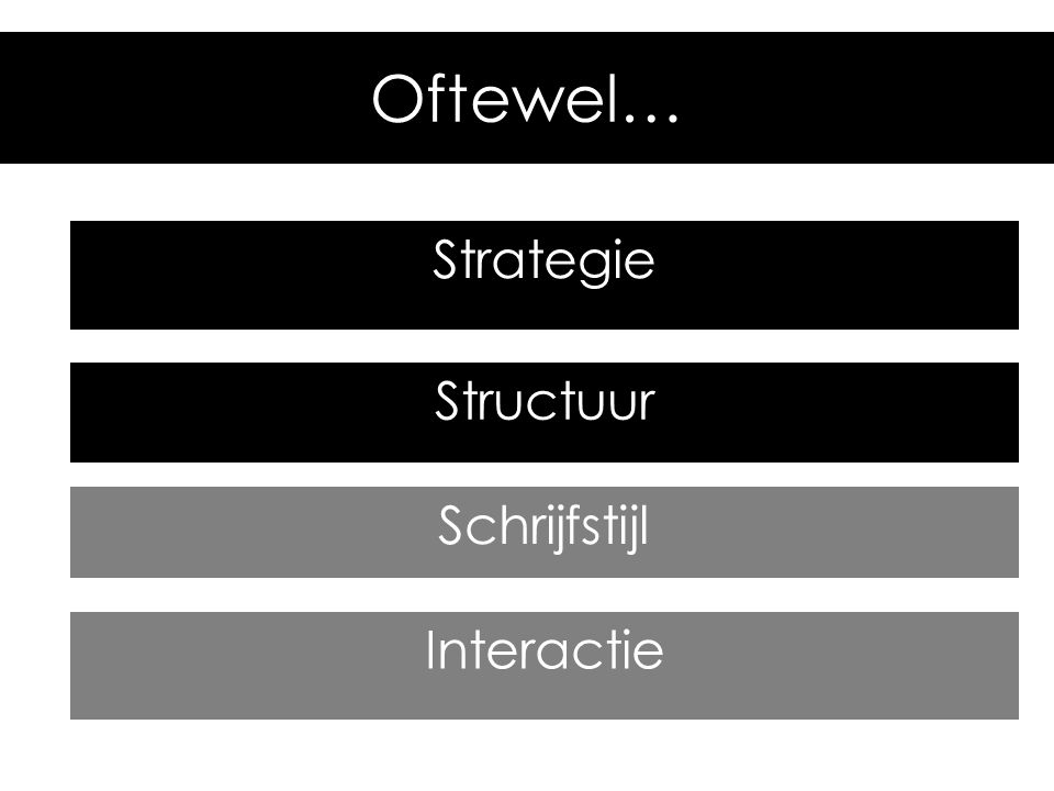 Schrijfstijl Structuur Strategie Interactie Oftewel…
