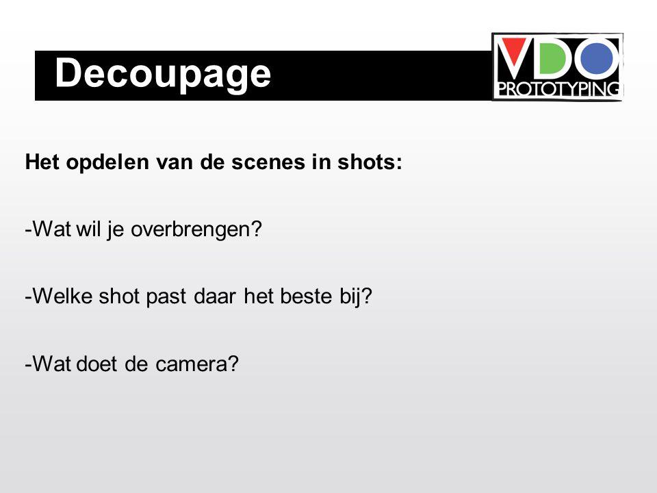 Decoupage Het opdelen van de scenes in shots: -Wat wil je overbrengen.