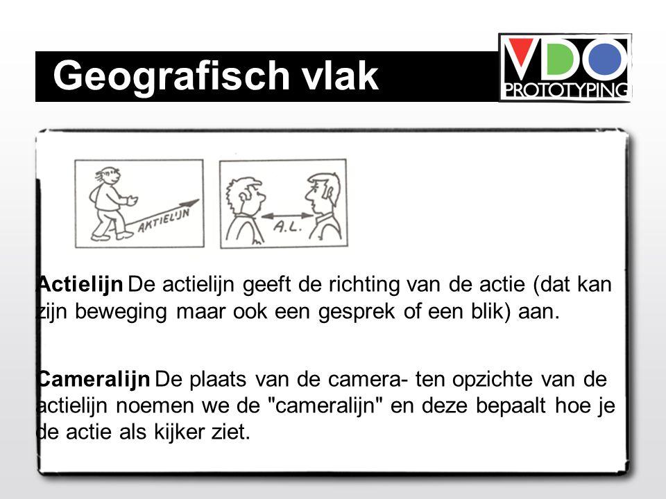 Geografisch vlak Actielijn De actielijn geeft de richting van de actie (dat kan zijn beweging maar ook een gesprek of een blik) aan.