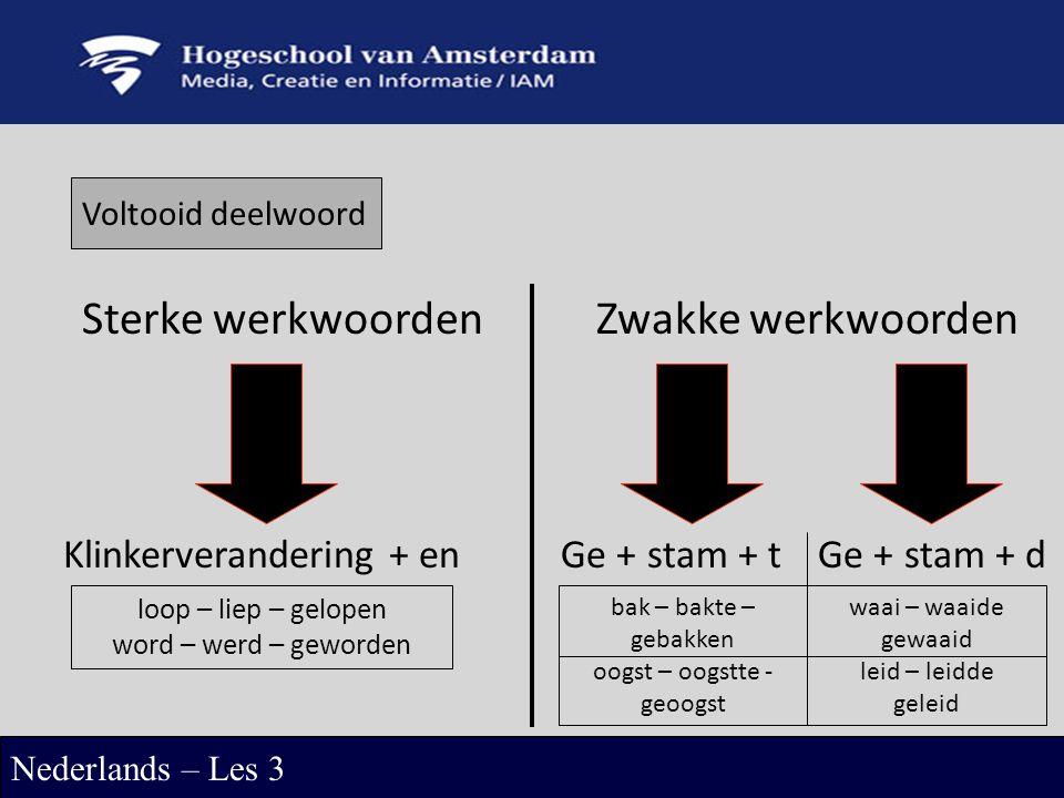 Sterke werkwoordenZwakke werkwoorden Klinkerverandering + enGe + stam + tGe + stam + d loop – liep – gelopen word – werd – geworden bak – bakte – gebakken oogst – oogstte - geoogst waai – waaide gewaaid leid – leidde geleid Nederlands – Les 3