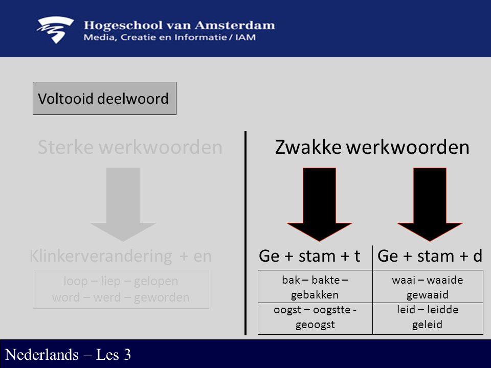 Voltooid deelwoord Sterke werkwoordenZwakke werkwoorden Klinkerverandering + enGe + stam + tGe + stam + d loop – liep – gelopen word – werd – geworden