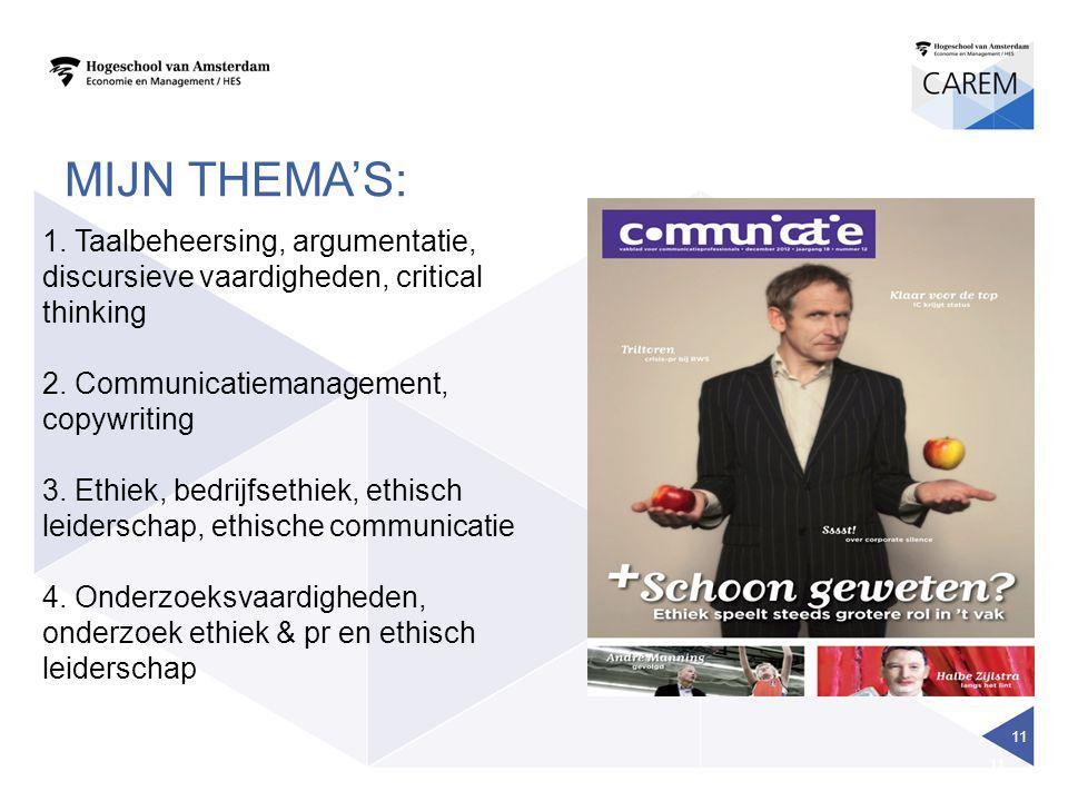 11 1. Taalbeheersing, argumentatie, discursieve vaardigheden, critical thinking 2. Communicatiemanagement, copywriting 3. Ethiek, bedrijfsethiek, ethi
