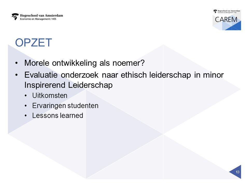 OPZET Morele ontwikkeling als noemer? Evaluatie onderzoek naar ethisch leiderschap in minor Inspirerend Leiderschap Uitkomsten Ervaringen studenten Le