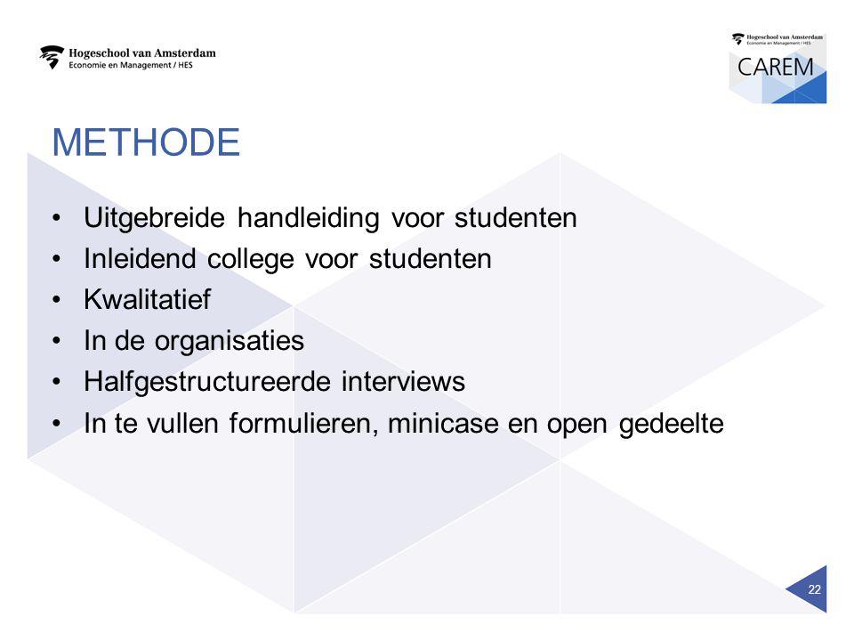 METHODE Uitgebreide handleiding voor studenten Inleidend college voor studenten Kwalitatief In de organisaties Halfgestructureerde interviews In te vu
