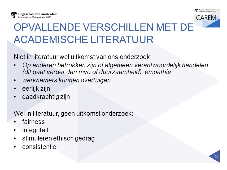 OPVALLENDE VERSCHILLEN MET DE ACADEMISCHE LITERATUUR Niet in literatuur wel uitkomst van ons onderzoek: Op anderen betrokken zijn of algemeen verantwo