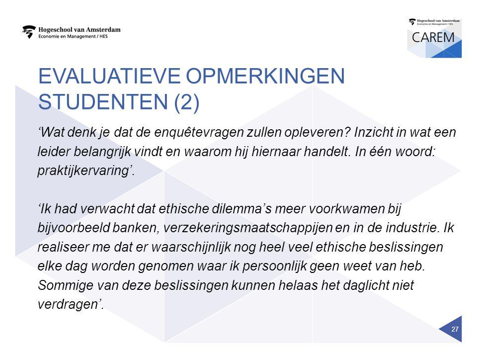 EVALUATIEVE OPMERKINGEN STUDENTEN (2) 'Wat denk je dat de enquêtevragen zullen opleveren? Inzicht in wat een leider belangrijk vindt en waarom hij hie