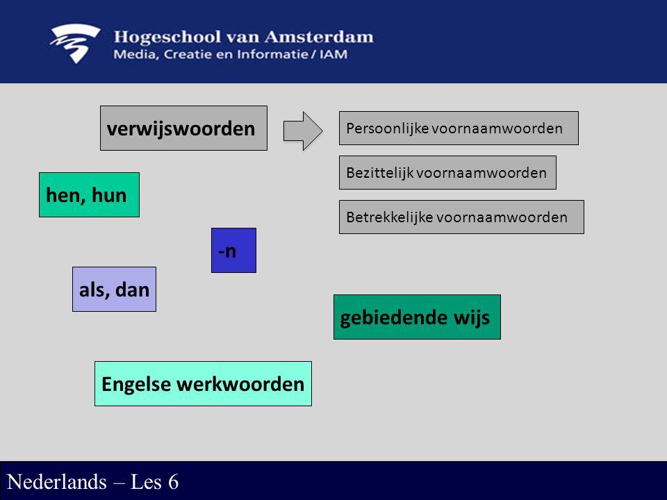 verwijswoorden Nederlands – Les 6 Persoonlijke voornaamwoorden Bezittelijk voornaamwoorden Betrekkelijke voornaamwoorden hen, hun -n als, dan gebieden
