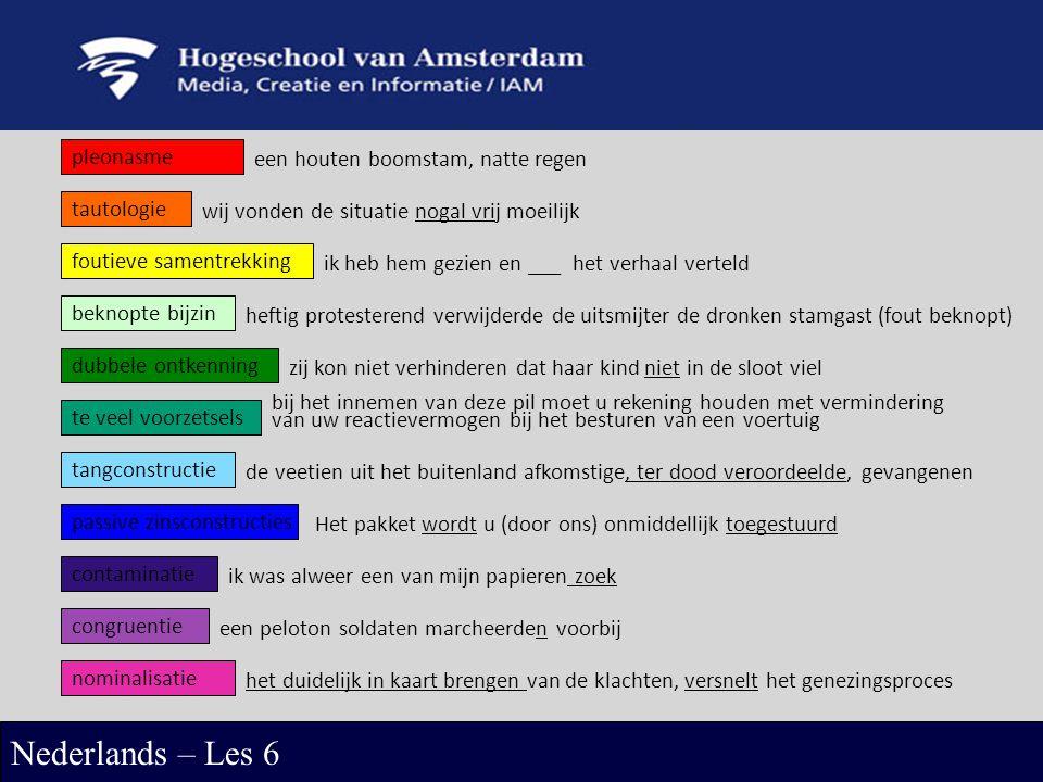 pleonasme Nederlands – Les 6 contaminatie congruentie tangconstructie tautologie foutieve samentrekking dubbele ontkenning te veel voorzetsels passive