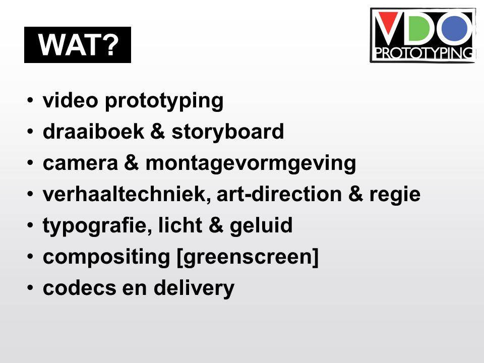video prototyping draaiboek & storyboard camera & montagevormgeving verhaaltechniek, art-direction & regie typografie, licht & geluid compositing [gre