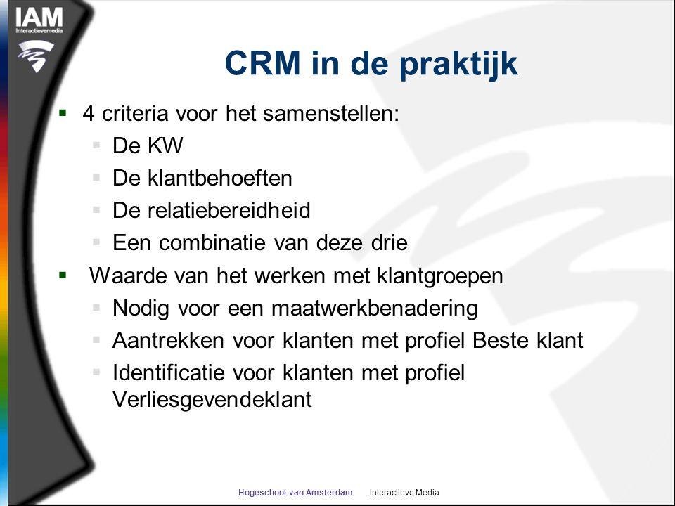 Hogeschool van Amsterdam Interactieve Media CRM in de praktijk  4 criteria voor het samenstellen:  De KW  De klantbehoeften  De relatiebereidheid