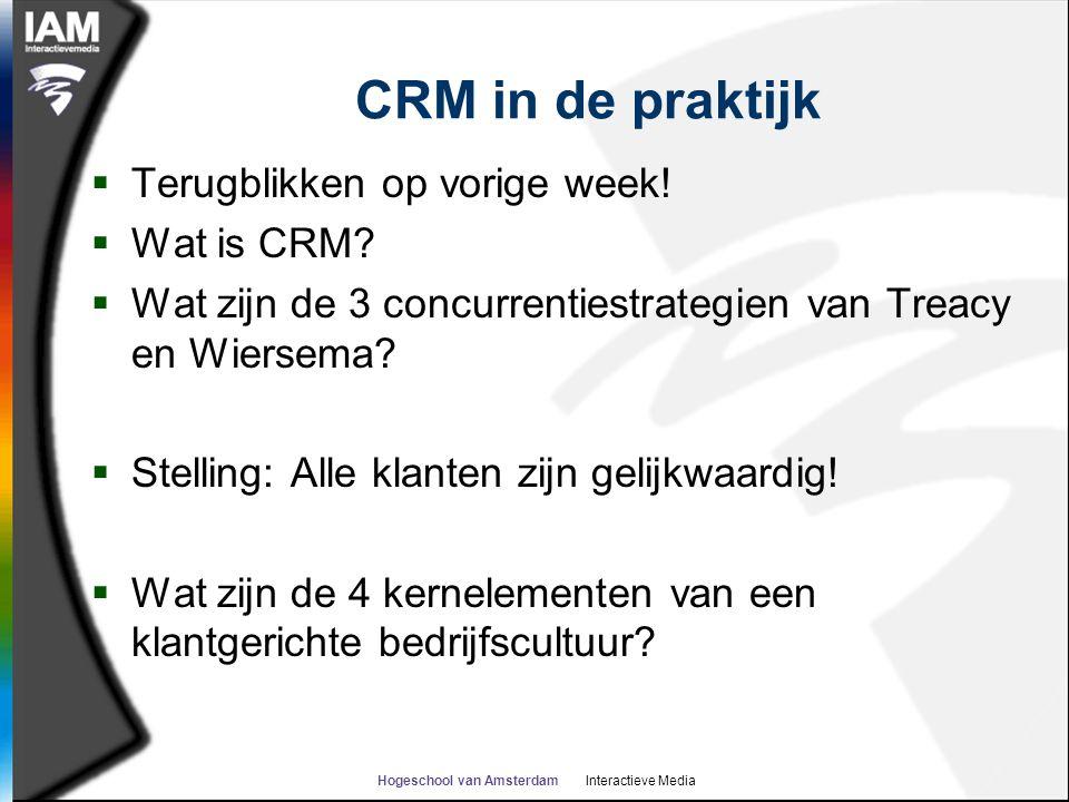 CRM in de praktijk  Terugblikken op vorige week!  Wat is CRM?  Wat zijn de 3 concurrentiestrategien van Treacy en Wiersema?  Stelling: Alle klante