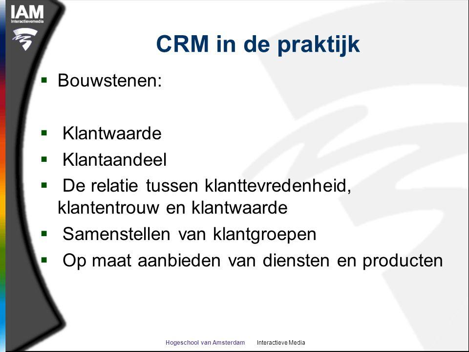 Hogeschool van Amsterdam Interactieve Media CRM in de praktijk  Bouwstenen:  Klantwaarde  Klantaandeel  De relatie tussen klanttevredenheid, klant