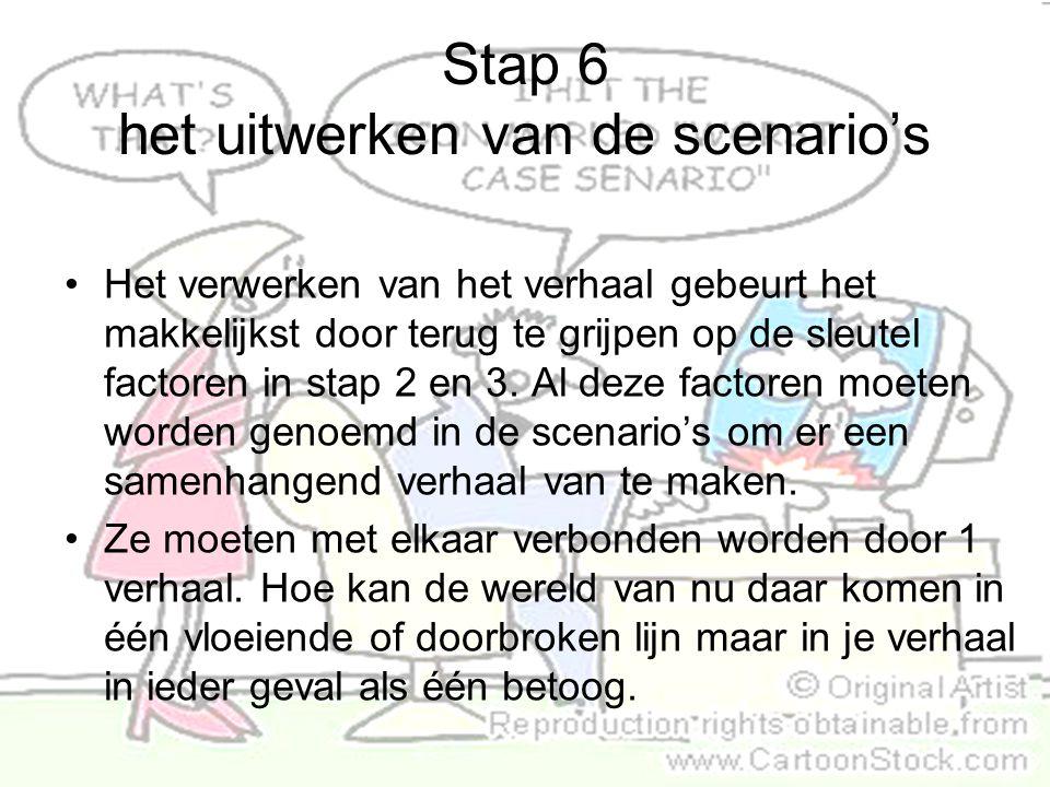 Stap 6 het uitwerken van de scenario's Het verwerken van het verhaal gebeurt het makkelijkst door terug te grijpen op de sleutel factoren in stap 2 en