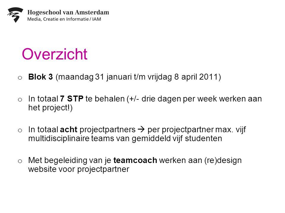 Overzicht o Blok 3 (maandag 31 januari t/m vrijdag 8 april 2011) o In totaal 7 STP te behalen (+/- drie dagen per week werken aan het project!) o In totaal acht projectpartners  per projectpartner max.