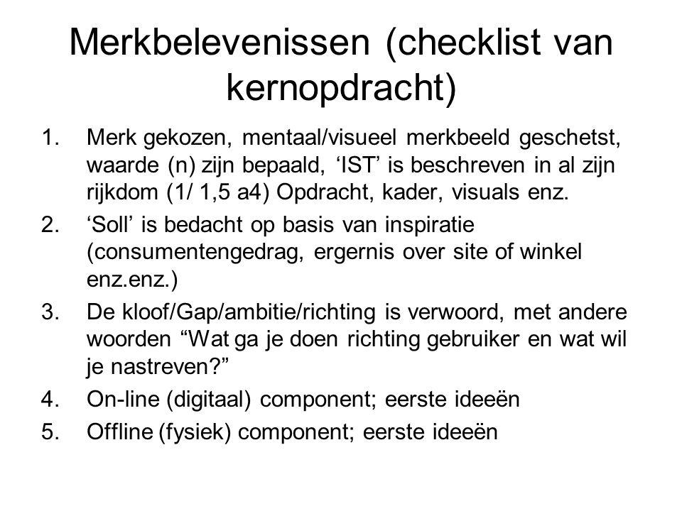 Merkbelevenissen (checklist van kernopdracht) 1.Merk gekozen, mentaal/visueel merkbeeld geschetst, waarde (n) zijn bepaald, 'IST' is beschreven in al