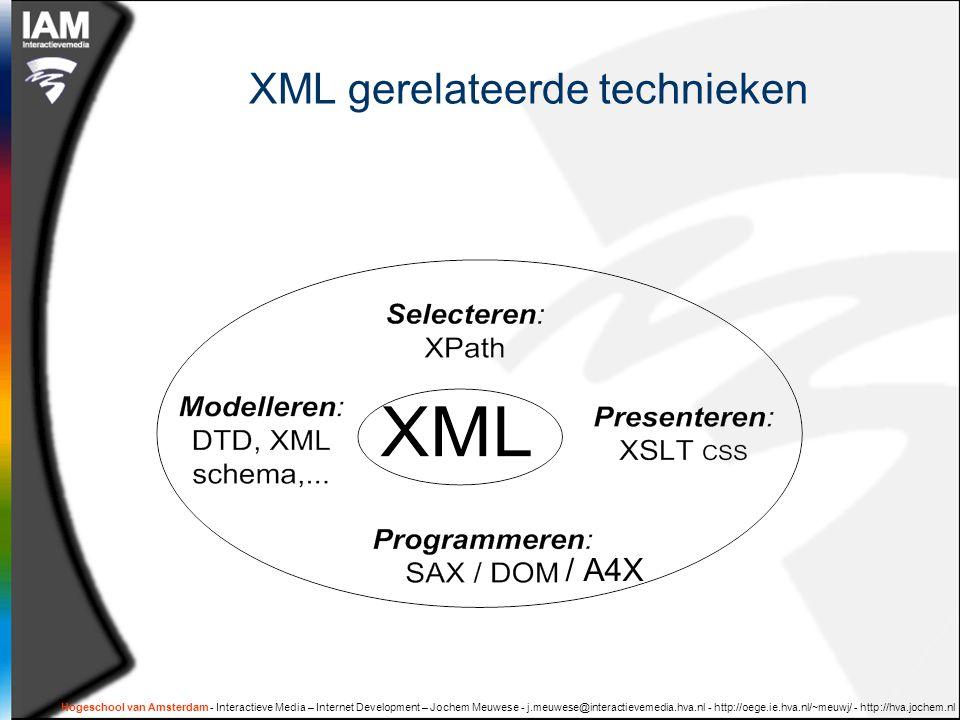 Hogeschool van Amsterdam - Interactieve Media – Internet Development – Jochem Meuwese - j.meuwese@interactievemedia.hva.nl - http://oege.ie.hva.nl/~meuwj/ - http://hva.jochem.nl XML gerelateerde technieken / A4X