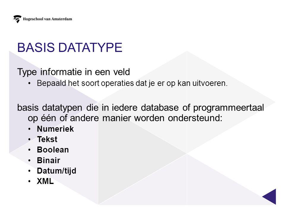 BASIS DATATYPE Type informatie in een veld Bepaald het soort operaties dat je er op kan uitvoeren. basis datatypen die in iedere database of programme