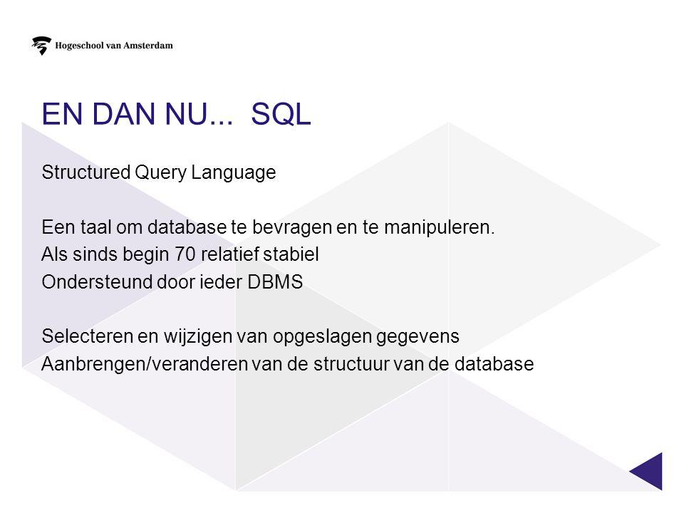 EN DAN NU... SQL Structured Query Language Een taal om database te bevragen en te manipuleren. Als sinds begin 70 relatief stabiel Ondersteund door ie