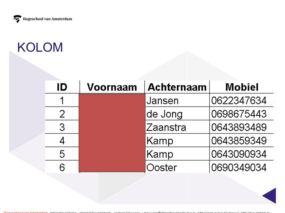 KOLOM Hogeschool van Amsterdam - Interactieve Media – Internet Development – Jochem Meuwese - j.meuwese@interactievemedia.hva.nl - http://oege.ie.hva.
