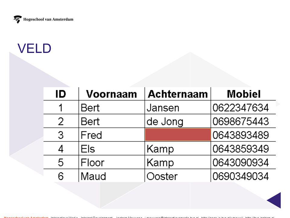 VELD Hogeschool van Amsterdam - Interactieve Media – Internet Development – Jochem Meuwese - j.meuwese@interactievemedia.hva.nl - http://oege.ie.hva.n